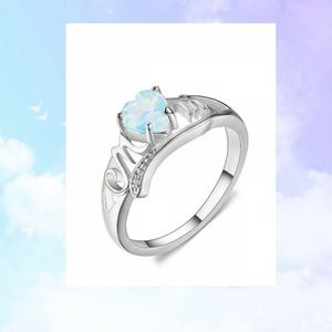 Size 9 White Fire Opal Heart White Gold Mom Ring